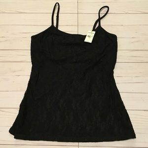 Black cami with black lace overlay